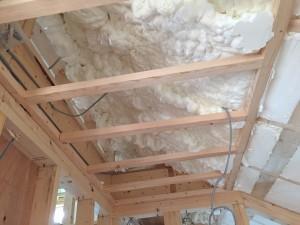 現場発泡断熱材天井裏状況