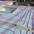 蓄熱コンクリート製作 架橋ポリエチレン管配管 不凍液通水圧テスト完了