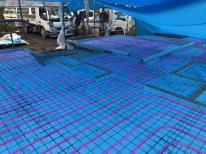 蓄熱式床暖房システム 蓄熱コンクリート打設前
