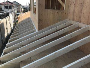 2×4工法 下屋垂木並び