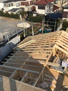2×4工法 平屋部屋根組み状況北東方向