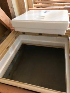 高気密型断熱床下点検口 断熱ハッチ外し後の基礎内部状況
