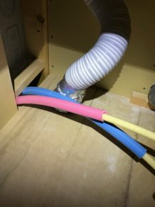 防火ダンパー付き給排気グリル 75φ50φ兼用フレキチューブ接続天井内部