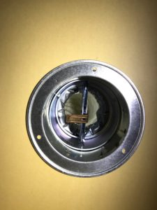 防火ダンパー付き給排気グリル75φ50φ兼用天井固定状況