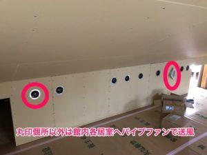 中間パイプファン7機のグリル口はフアイヤーダンパー付き